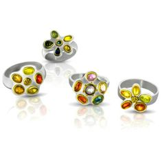 The whole collection of Jewel Box Rings - Each ring features a color range of small, rose-cut fancy sapphires in 22 karat gold bezels on silver. a kind Artisan Jewelry, Handcrafted Jewelry, Custom Jewelry, Jewelry Art, Gold And Silver Rings, Small Rose, Ancient Jewelry, Jewel Box, Hammered Silver