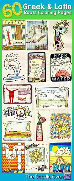 No prep Greek & Latin Coloring sheets -- versatile and make learning easier and more fun!