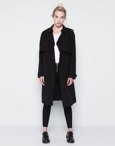 Pull&Bear - femme - manteaux - trench fluide long ceinture - noir - 09751315-I2014