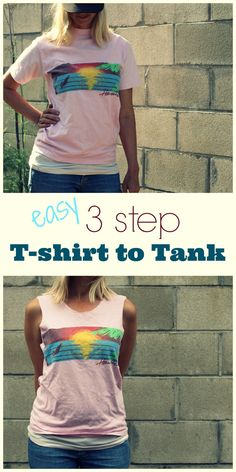 easy 3 step t-shirt to tank top - diy Shirt Into Tank Top, Cut Up T Shirt, Cut T Shirt Neckline, Cut Sleeves Off Tshirt, How To Cut Tshirt, Cut Tshirt Ideas, How To Cut Sleeves, Cut Shirt Designs, Shirt Makeover
