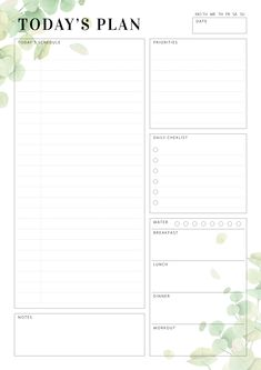 Undated Daily Planner Template with botanical pattern. Sections available in this template: Today's schedule, Priorities, Best Daily Planner, To Do Planner, Daily Planner Pages, Study Planner, School Planner, Weekly Planner, Life Planner, College Planner, Agenda Planner