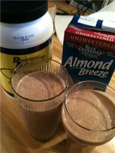 chocolate protien shake  1 scoop chocolate protein powder   1 tablespoon peanut butter   1/2 tablespoon all natural unsweetened cocoa powder   1 tablespoon ground flax seed   1/2 cup original unsweetened almond milk   half of a banana   1/2 cup water   4-6 ice cubes