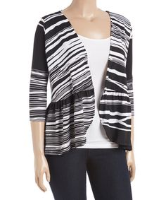 Another great find on #zulily! Black & White Abstract Ruffle Open Cardigan - Plus #zulilyfinds