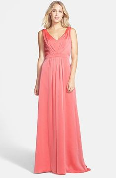 Simple yet elegant. And the perfect shade of coral. I hope it looks just as beautiful in-person. -M Jim Hjelm Occasions 'Luminescent' Pleated Chiffon Gown available at Bohemian Bridesmaid, Orange Bridesmaid Dresses, Bridesmaids, Semi Formal Dresses, Dressy Dresses, Bride Dresses, Maxi Dresses, Wedding Dress Styles, Wedding Suits