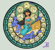 Disney Princess stained glasses.
