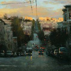 "HSIN-YAO TSENG Fine Art - Cityscapes ""Sunset in Russian Hill"" Oil 16""x16"""