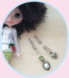 Blythe doll handmade pull strings with facetted glass beads*cat&heart*rhinestone