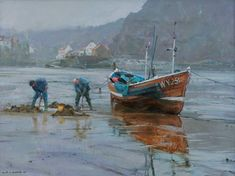 Digging for Bait at Low Tide, Staithes David Curtis Watercolor Landscape, Landscape Art, Landscape Paintings, Watercolor Artists, David Curtis, 7 Arts, Boat Painting, Traditional Landscape, Seascape Paintings