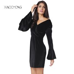>> Click to Buy << XIAOCHONG Deep V halter dress sexy long sleeved black party dress elegance flare sleeve women dresses robe femme ete 2017 #Affiliate