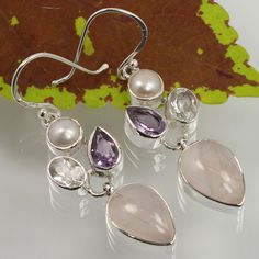 Girl's Fashion Earrings 925 Sterling Silver Real ROSE QUARTZ & Other Gemstones #Unbranded #DropDangle