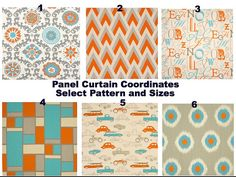 Mandarin and blue  Curtain. 2 panel by TwistedBobbinDesigns