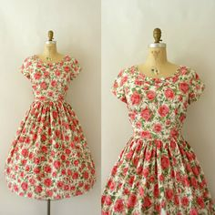 1950s Vintage Dress  50s Rose Print Cotton Dress  by Sweetbeefinds, $128.00