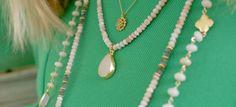 Green necklaces//www.theodosiajewelry.com