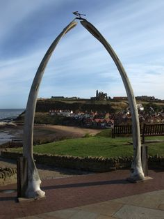 Whitby, UK - The famous jaw bones of a whale were donated by Alaska in April 2003. The original whale bone arch was erected around 1853 and is now displayed in the Whitby Archives & Heritage Centre. Lit up at night by lights embedded into the pathway. Photo by Dave John