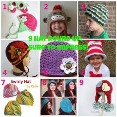 Share this: 9 Free Crochet Hat patterns that are sure to impress! Check out my other Round ups here   1. Blooming Strawberry Earflap Hat 2. Sock Monkey Hat 3. My St Patrick's Day Hat 4. GOLDEN AUTUMN crocheted hat 5. School's Out Hat 6. Cat in The Hat 7. Swirly Hat 8. Rastafari …