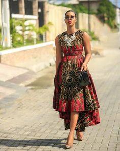 Red african print dressHighlow gownRed ankara dressAfrican image 1 by laviye - 2019 Dresses, Skirt, Shirts & African Maxi Dresses, Latest African Fashion Dresses, African Dresses For Women, Ankara Dress, African Print Fashion, African Attire, African Wear, Ankara Fashion, African Prints