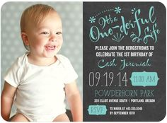 One-derful Life - Birthday Party Invitations - Picturebook - Reef - Blue : Front Simple First Birthday, Baby First Birthday, First Birthday Parties, First Birthdays, One Year Birthday, Farm Birthday, Birthday Ideas, Disney Birthday, Unique Invitations