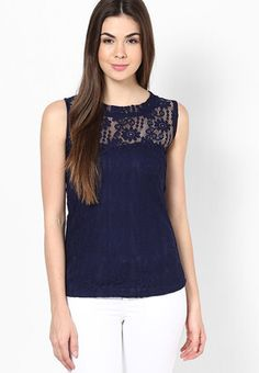 Navy Blue Embroidered Top Update your casual wardrobe this summerwearing this navy blue coloured topfrom the house of MAYRA. While the navy blue colour adds to your feminine charm, the stylegives your overall look some definition. This top can be paired with basic blue coloured jeans. http://m.jabong.com/mayra-Navy-Blue-Embroidered-Top-1260399.html