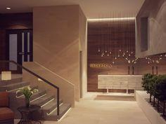 Интерьер вестибюля жилого дома в Резиденции Сколково, Архитектурное бюро Александры Федоровой
