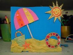 Mimos para niños: Más de 35 ideas relacionadas con el verano Kids Crafts, Summer Crafts For Kids, Spring Crafts, Toddler Crafts, Art For Kids, Ocean Crafts, Beach Crafts, Summer Art Projects, Classroom Crafts