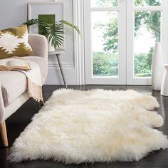 Safavieh Genuine Sheepskin Pelt Handmade White Shag Fur Rug x NEW White Shag Rug, White Rug, White Area Rug, Fur Rug, Wool Rug, Living Colors, Piel Natural, Seat Pads, Bedroom Decor