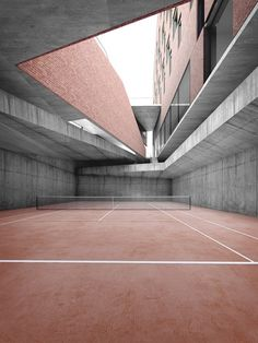 TRIWA INSPO - Architecture we like / Tennis court / Red / Intefrated / Sports architecture/ at inspiration Urban Architecture, Space Architecture, Contemporary Architecture, Classification Des Arts, Brutalist, Building, Women's Cycling, Cycling Jerseys, Stay Tuned