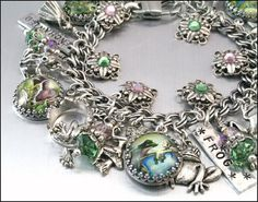 Frog Jewelry Silver Charm Bracelet Frogs by BlackberryDesigns,$138.00