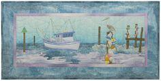 "Pine Needles Beach Walk Fishing Boat Days End Block Six 38 1/2"" x 19"" by McKenna Ryan Applique Quilt Pattern"