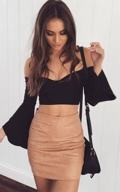 Black Bell Sleeve Crop + Camel Skirt                                                                             Source