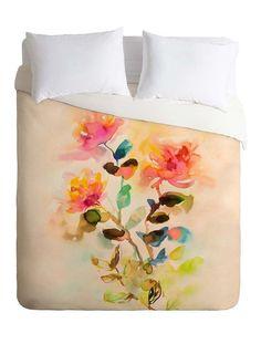 Watery Garden Duvet Cover #watercolor #floral