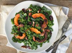 delicata squash and kale salad with maple-tahini dressing - Dishing Up the Dirt