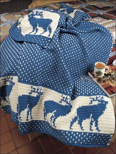 Crochet - Afghan & Throw Patterns - Holiday & Seasonal Patterns - Reindeer in the Snow Afghan
