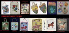 Borse di pelle ricamate con perline di vetro. La mancanza di tasche negli abiti tradizionali veniva, come in altre zone dell'America indigena sopperita dall'uso di queste borse.