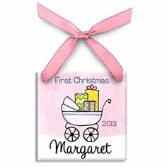 First Christmas Stroller Girl Personalized Ornament