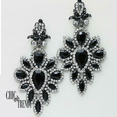 HIGH END STUNING BLACK & CLEAR CRYSTAL EARRINGS PROM WEDDING FORMAL JEWELRY #Unbranded #Chandelier