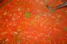 Creole Tomato Sauce made from garden fresh tomatoes, onion, green & red bell pepper, celery & seasonings. [Gotta add a HOT pepper to this.at least. Okra And Tomatoes, Stewed Tomatoes, Tomato Gravy, Tomato Sauce, Southern Tomato Pie, Southern Food, Southern Comfort, Red Gravy, Creole Sauce