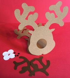 10 Reindeer Lolipop Die Cuts DIY The Reindeers are made from Kraft Brown Card Stock Paper. Overall height, not folded, is 11. Fold in half,