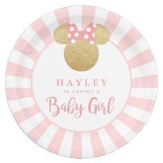Minnie | Pink Striped Gold Glitter Baby Shower Paper Plate  sc 1 st  Pinterest & Father\u0027s-Day-Red-Gold-Celebration-Template Paper Plate | Red gold