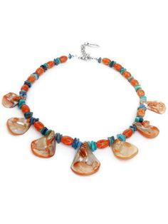 Turquoise en oranje ketting, parelmoer (Lomazzo) van Per Elle Sieraden & Accessoires op DaWanda.com