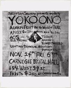 Works by Yoko Ono, poster, Carnegie Recital Hall, New York, November 24, 1961. Photograph by George Maciunas. Courtesy The Museum Of Modern Art, New York.
