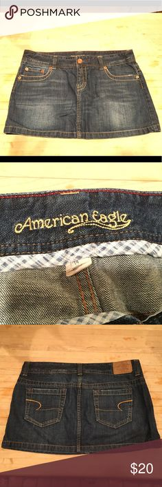 American Eagle dark denim mini skirt size 14 American Eagle Jean skirt Dark denim mini is size 14 Great condition American Eagle Outfitters Skirts Mini
