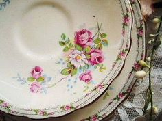 Mismatched flowered patterned china....I use as coffee mug coasters & coasters for potted plants.