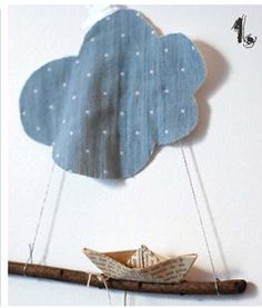 paper boat with cloud