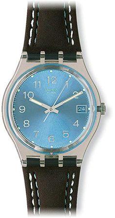 c8d6597db42c Swatch Blue Choco Blue Dial Clear Plastic Black Leather Quartz Men s Watch  GM415 Μαύρο Δέρμα