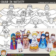 Easy Christmas Nativity craft for kids! Just print, cut out and colour in! A fun Christian craft for the kids this Christmas from Kate Hadfield Designs!