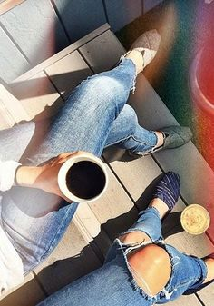All you need in life is a good cup of coffee, your best friend and your favorite pair of TOMS.