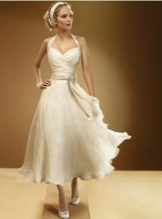 Halter Tulle Tea Length Beach Bridal Gown Wedding Dress