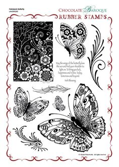 Patchwork Butterfly Rubber Stamp Sheet - A4 - Chocolate Baroque