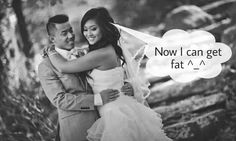 Pinterest @KimSantos5516 SIKE, my husband and I promised to never let ourselves go even after marriage. Fitness is one of our bonds we enjoy doing almost on a daily basis and that's a bond we won't let go of. TEAMWORK! #wife #husband #wedding #humour #marry #married #marriage #fat #fit #skinny #bride #groom #joke #man #woman #asian #Pacific #islander #mexican #power #couple #fitness #Im #hungry #in #love #quote #meme #funny #romance #romantic #him #her #his #wedding #dress