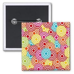 Bold Bright Colorful Concentric Circles Pattern Pin